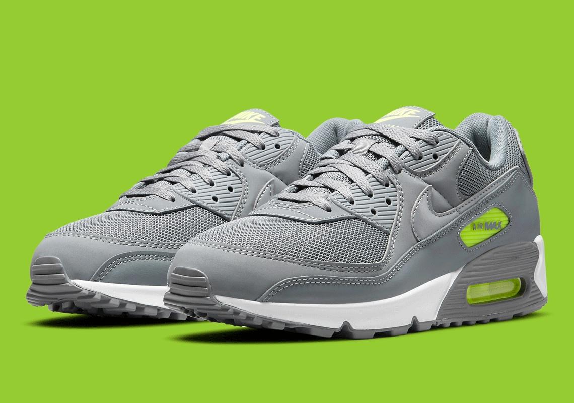 Nike Air Max 90 Plateada Con Toques Color Neón