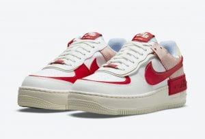 Nike Air Force 1 Shadow Con Cuero Roto Y En Rojo Y Blanco