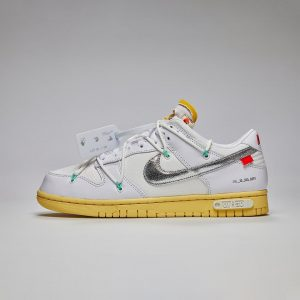 """Off-White X Nike Dunk Low """"The 50"""" White Silver"""