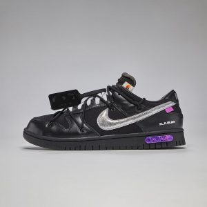 """Off-White X Nike Dunk Low """"The 50"""" Black Silver"""